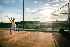 Free Tennis Player In Action On Court Royalty Free Stock Image - 88491886