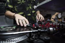 Free Dj`s Hands On Mixer Stock Photo - 88492420