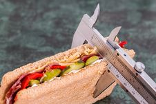 Free Grey Measuring Device On Brown Sandwich Stock Photography - 88492982