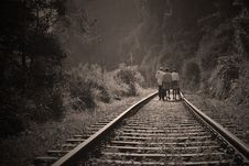 Free People Walking On Railroad Tracks Stock Photo - 88493670