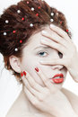 Free Young Pretty Girl With Red Lips Royalty Free Stock Image - 8853196