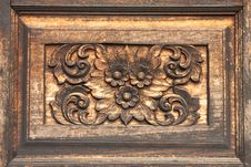 Flower In Traditional Thai Style Wood Carving
