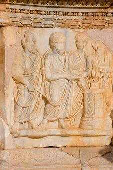 Free Sculptured Frieze With Four Men, Sabratah - Libya Royalty Free Stock Images - 8850299