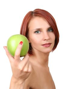 Free Woman With Apple Stock Image - 8851111