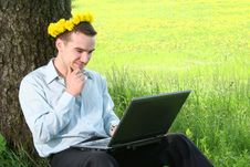 Guy With Dandelions Royalty Free Stock Photo