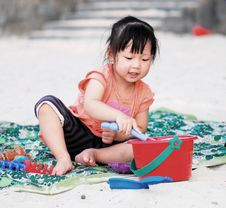 Free Asian Child On The Beach Stock Image - 8852081