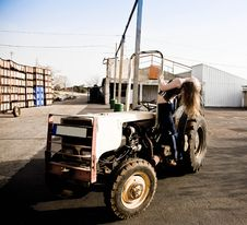 Free Woman On A Tractor Royalty Free Stock Image - 8853426