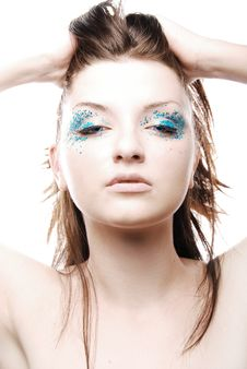 Free Beautiful Young Woman Wearing Sparkly Make-up Stock Images - 8854284