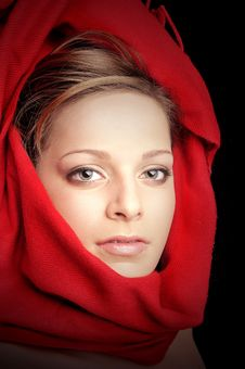 Free Beautiful Girl With Red Color Scarf Royalty Free Stock Photos - 8854858