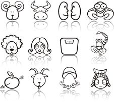 Free Zodiac Iconset (2) Royalty Free Stock Photo - 8855395
