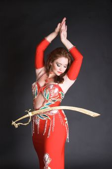 Free Belly Dancer Balancing Sword Stock Image - 8855431