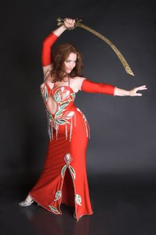 Free Belly Dancer In Red Stock Photography - 8855652