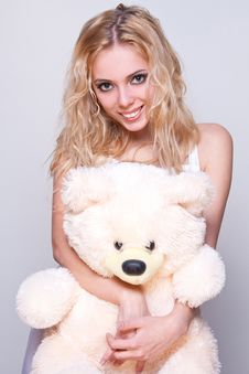 Free Beautiful Girl With A Teddy Bear Royalty Free Stock Photo - 8857295