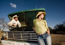 Free Couple With A Pickup Truck Royalty Free Stock Photography - 8860177