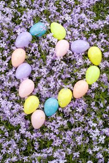 Easter Eggs In Heart Shape With Flower Background Royalty Free Stock Photography