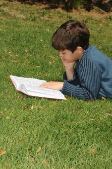 Free Boy Reading Stock Photo - 8861950