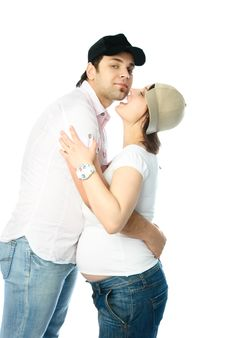 Happy Pregnant Woman And Her Husband Stock Image