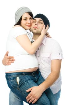 Happy Pregnant Woman And Her Husband Royalty Free Stock Image