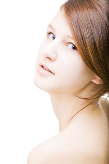 Free Young Beautiful  Female On White Royalty Free Stock Images - 8864409