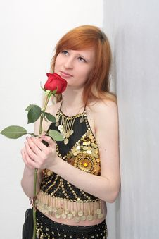 Free Girl With A Red Rose Stock Photo - 8866960