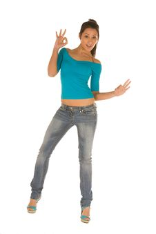 Free Young Woman Ok Sign Royalty Free Stock Photography - 8868677