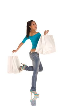 Free Young Woman With Shopping Bags Royalty Free Stock Photo - 8869235