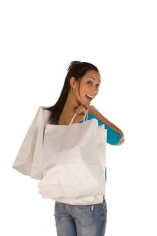 Free Young Woman With Shopping Bags Royalty Free Stock Images - 8869299