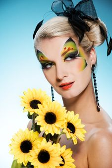 Beauty With Butterfly Face-art Stock Photo