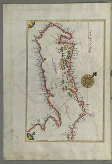 Free Illuminated Manuscript Map Of The Islands Of The Adriatic Coast From Book On Navigation, Walters Art Museum Ms. W.658, Fol. 208a Royalty Free Stock Images - 88693239