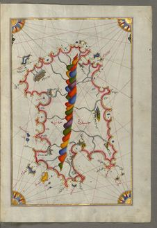 Free Illuminated Manuscript Map Of Sardina From Book Of Navigation, Walters Art Museum, Ms. W.658, Fol. 226b Stock Photography - 88693272