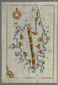 Free Illuminated Manuscript Map Of Corsica, From Book On Navigation, Walters Art Museum Ms. 658, Fol. 229a Stock Photography - 88693332