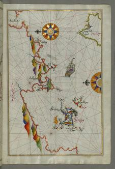 Free Illuminated Manuscript Map Of The Northeastern Tip Of Rhodes &x28;Rodos, Rūdūs&x29; Island Facing The Anatolian Coast With The Stock Photos - 88693373