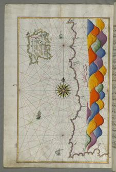 Free Illuminated Manuscript Map Of The Island Of Bozjah &x28;Tenedos&x29; Off The Coast Of Anatolia, From Book On Navigation, Walters Stock Image - 88693391