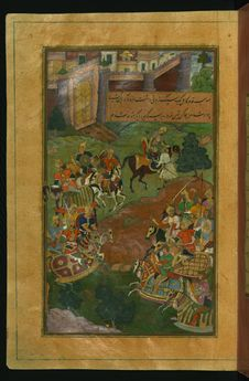 Free Sultan Muḥammad Vays Offers Babur A Healthy Horse To Replace His Ailing One, From Illuminated Manuscript Baburnama &x28;Memoirs Royalty Free Stock Photography - 88693397