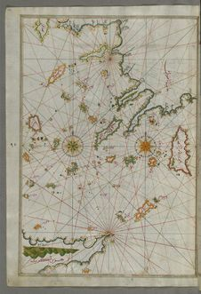 Free Illuminated Manuscript Map Of The Islands Of The Aegean Sea Including Chios &x28;Sakiz&x29;, Cos &x28;Stancho, İstanköy&x29; Stock Images - 88693404