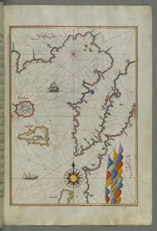 Free Illuminated Manuscript Map Of The Islands Of Semendrek &x28;Samothraki&x29; And Imroz &x28;Imbros&x29; In The Aegean Sea, From Royalty Free Stock Photography - 88693407
