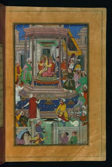 Free Babur Being Entertained In Ghaznī By Jahāngīr Mīrzā, From Illuminated Manuscript Baburnama &x28;Memoirs Of Babur&x29;, Walt Stock Image - 88693411