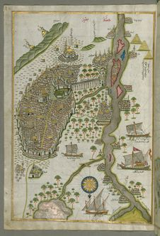 Free Illuminated Manuscript Map Of Cairo, From Book On Navigation, Walters Ms. W.658, Fol. 305b Royalty Free Stock Photography - 88693427