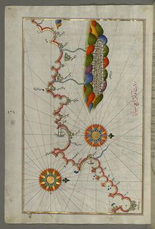 Free Illuminated Manuscript Map Of The Coast Of Andalusia With The City Of Grenada &x28;Gharnātah&x29;, From Book On Navigation, Wal Royalty Free Stock Image - 88693476