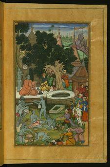 Free Babur And His Warriors Visiting The Hindu Temple Gurh Kattri &x28;Kūr Katrī&x29; In Bigram, From Illuminated Manuscript Baburn Stock Photography - 88693552