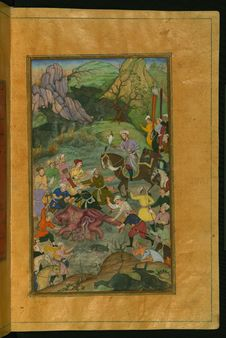 Free Babur And His Party Hunting For Rhinoceros In Swati, From Illuminated Manuscript Baburnama &x28;Memoirs Of Babur&x29;, Walters A Royalty Free Stock Image - 88693656