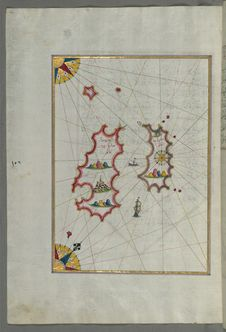 Free Illuminated Manuscript, Map Of Two As Yet Unidentified Islands In The Vicinity Of Pag Island &x28;Croatia&x29; From Book On Nav Stock Images - 88693904