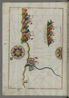 Free Illuminated Manuscript, Map Of The Italian Coastline From Rimini South Towards Pesaro From Book On Navigation, Walters Art Museum Stock Photography - 88693912