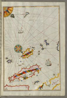 Free Illuminated Manuscript, Map Of The Dalmatian Islands: Korčula &x28;Qūrsūlah&x29; And Lastovo &x28;Augusta&x29; Off The Coas Royalty Free Stock Photo - 88693915