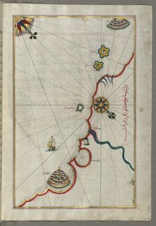 Free Illuminated Manuscript, Map Of The Coastline From Marano &x28;Mūrān&x29; To Caorle &x28;Qāvarlī&x29;, Province Of Venice F Stock Photos - 88693943