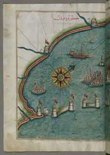 Free Illuminated Manuscript, Map Of The Western Part Of The City Of Venice &x28;Venedīk&x29; From Book On Navigation, Walters Art Mu Stock Image - 88693991