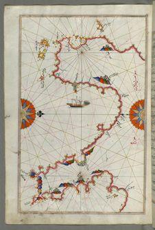 Free Illuminated Manuscript Messiniakos Bay &x28;Bay Of Messini&x29;, Fr, Om Book On Navigation, Walters Art Museum Ms. W.658, Fol.12 Royalty Free Stock Images - 88693999