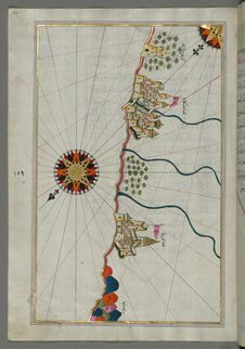 Free Illuminated Manuscript, Map Of The Italian Coast South Of Ancona As Far As The Town Of Pescara &x28;Beshāre&x29; From Book On N Stock Photo - 88694000