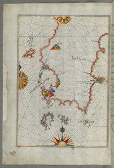Free Illuminated Manuscript, Eastern Part Of The Peloponnese &x28;Morea, Mora&x29; Peninsula From Book On Navigation, Walters Art Mu Stock Photos - 88694003
