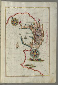 Free Illuminated Manuscript, Map Of The Fortress Of Trieste &x28;Rishtī&x29; &x28;Italy&x29; From Book On Navigation, Walters Art Royalty Free Stock Photo - 88694015